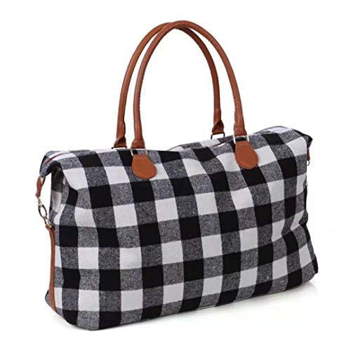 Monogrammed Buffalo Plaid Red and White Weekender Travel Bags -
