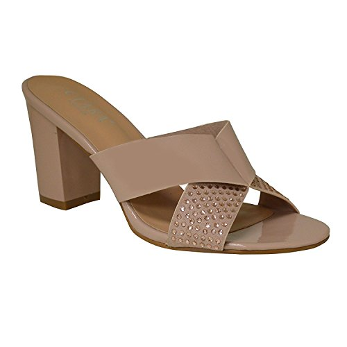 Ciara Women's London Aubrey Diamante Cross Strap Block Heel Mule Sandals Nude