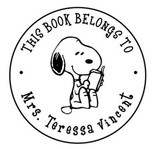 This Book Belongs to/Name Round Designer Snoopy Logo Custom Self Ink Stamp (Gifts Personalized Snoopy)