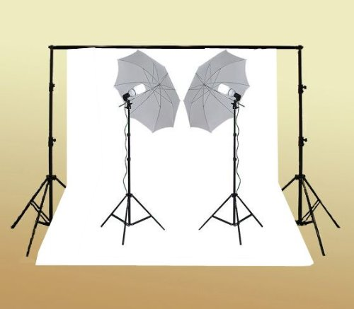 ePhoto K15+10x20W 800 Watt Continuous Lighting Kit with 10 x20 Feet White Muslin with Support System and 2 7 Foot Light Stands with 32-Inch Shoot Through Umbrellas and 105 Watt 5500k Fluorescent Bulbs by ePhoto