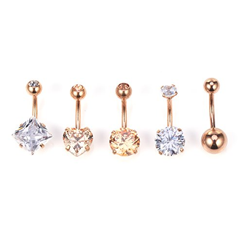 Ruifan 5PCS 14G Cubic Zirconia Ball Belly Button Rings Navel Barbell Body Jewelry Piercing - Rose ()