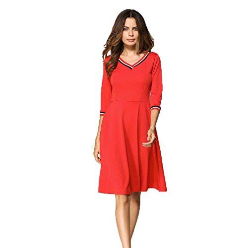 Les Femmes De La Mode Creazydog De Creazy Trois Quarts Chute Robe Longueur Genou V-cou Rouge