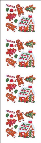 Jillson Roberts Christmas Prismatic Stickers, Mini Gingerbread House and Cookies, 12-Sheet Count (XS7536)