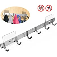 EINFAGOOD Over the Door Hooks 6 Hooks, Over the Door Coat Rack with Magic Adhesive Pads, Adjustable Removable, Stainless Steel (Polished Finish)
