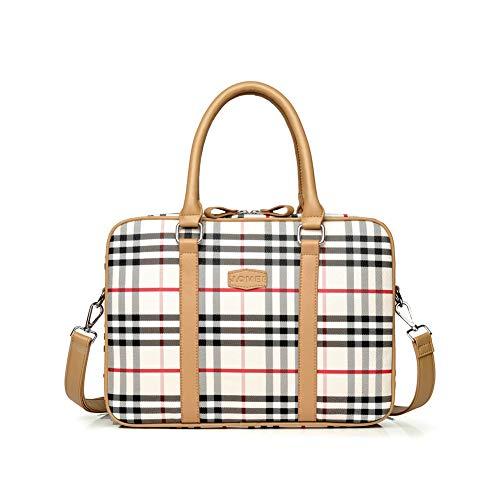 Bag Women 13 3 Briefcase For Laptop Shoulder Pu Leather Lattice Business Work Messenger 7f6Ybgyv