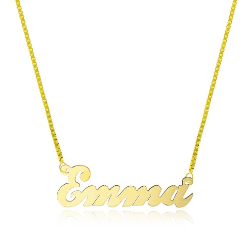 14K Yellow Gold Personalized Name Necklace - Style 2 (20 Inches, Box Chain) ()
