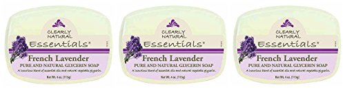 Clearly Natural Glycerine French Lavender Bar Soap (Pack of 3) With Glycerine, Coconut Oil, Palm Oil, Palm Kernel Oil, Surfactants, Humectants, Sodium Citrate and Lavendula Hybrida Oil, 4 oz. each ()
