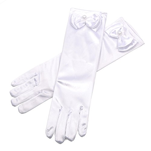 Lusiyu Girl Solid Color Long Elbow Length Formal Pageant Glove (White)