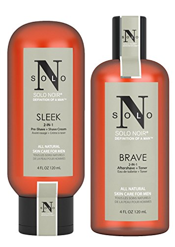(Solo Noir All Natural Shaving KitFor Men:2-In-1 Skin And Beard Grooming And Care, Shave Cream For Easy Glide, Moisturizing Aftershave Toner For Soft And Smooth Skin, Ingrown Hair And Acne Prevention)