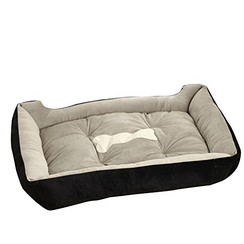 Riveroy Rectangle Orthopedic Pet Dog Cat Bed Cuddler and Nonslip Bottom Soft Memory Foam Solid Sofa with Bone Printed