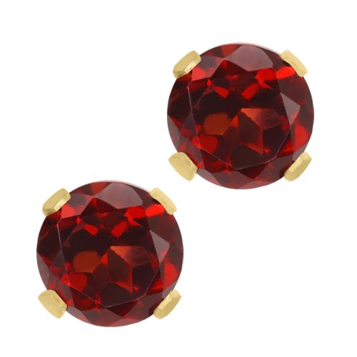 Yellow Gold Stock - 1.00 Ct Round Garnet 10K Yellow Gold Stud Earrings 5mm