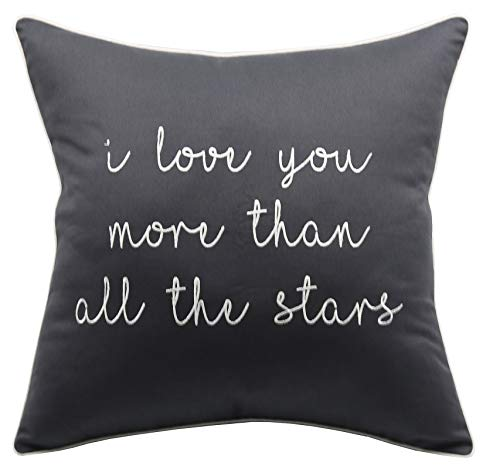 YugTex Pillowcase I Love You More Than All The Stars Cushion Cover,Quote Pillow, Romantic Love Sayings Pillow,Valentine Gift,Bedroom Wall Decor,Kid Room Gift (18