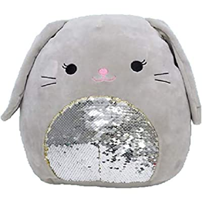 "Squishmallow Kellytoy 12"" Easter A Collection Plush Doll (12"" Blake Grey Bunny Flip Sequin): Toys & Games"