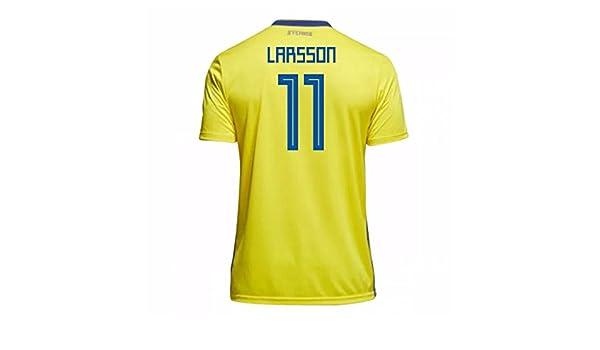 1a8722e44 Amazon.com   2018-19 Sweden Home Football Soccer T-Shirt Jersey (Henrik  Larsson 11)   Sports   Outdoors