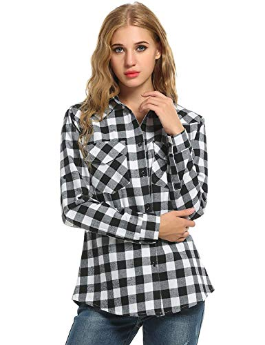 Mujer Tops Cuadros Elegantes Adelina Ropa Blusas Manga Con Estilo Camisa  Vintage Larga De Blanco Damas A Camisas pRwxRZ6Tq f58b062ad3a2c