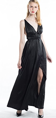 d8f4d4362f Yimeili Women's Sexy Deep V Neck Backless Split Maxi Cocktail Long Party  Dresses(30Color S