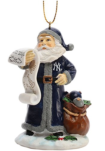 MLB New York Yankees Naughty/Nice List Santa Ornament, One Size, Multicolor