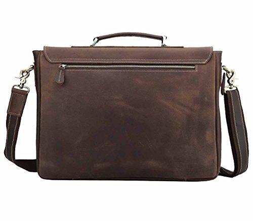 6676ad1f00 Amazon.com  Polare Vintage Genuine Leather Tote Briefcase Professional 16   Laptop  Shoulder Messenger Bag (Dark Brown)  Computers   Accessories