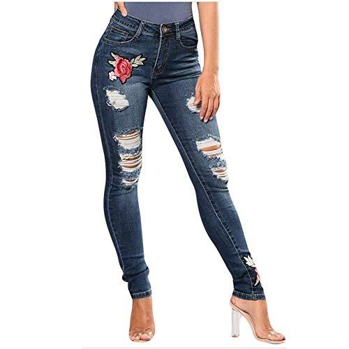 Battercake Pour Haute Dame Des Brodé Femmes Fesses Jean Foncé Bleu Denim Extensible Taille Minceur Levage Casual Pantalon Déchiré Rose Détresse En wYBqAwrz