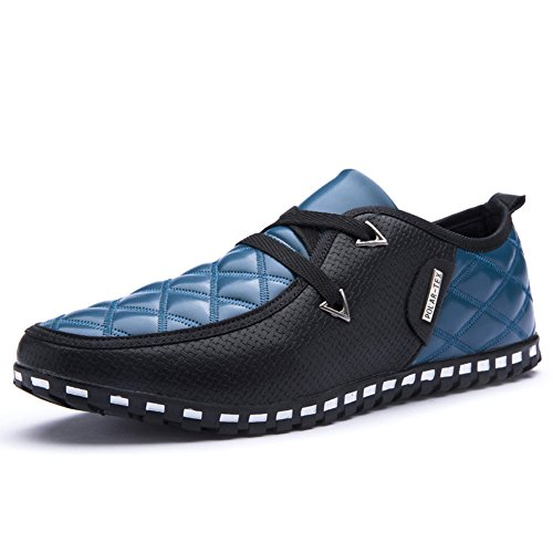 XMWEALTHY Mens Comfortable Lace-up Casual Shoes Breathable Flat Shoes Blue-black dGyi2Os