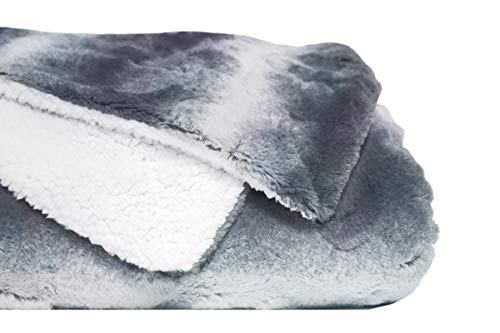 ViscoSoft Reversible Faux Fur Blanket- Soft, Double-Sided with Luxurious Faux Fur and Plush Sherpa (Queen, Gray)