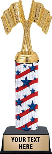 - Crossed Flags Award Trophy - 11 Inch Customized Racing Flags Patriotic Trophies Prime