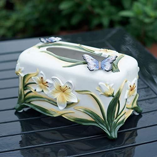 GYCOZ Haushalt Tissue Box Keramik Papiermagazin Lange Papiertücher Hauptdekorationen Tissue Box Cover Gesicht