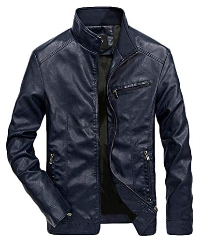 Youhan Men's Casual Full-Zip Retro Fitted PU Faux Leather Jacket (Medium, Dark Blue)