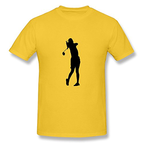 Men Golfwoman015 T-shirt,Yellow Tshirt By HGiorgis XXL - Golfer Award Male