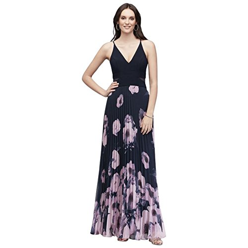 David's 1560X Style Dress Maxi Jersey Blush Bridal Navy Printed Pleated 0ZYq0gr