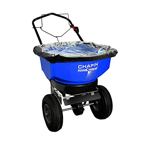 Top Rated Professional Commercial Rated Walk Behind Stainless Steel Rock Salt Spreader- Heavy Duty Unit With 14'' All-Terrain Tires 80 LB Rated 360 Degree Covering Area Adjustable Dial Enclosed Gears