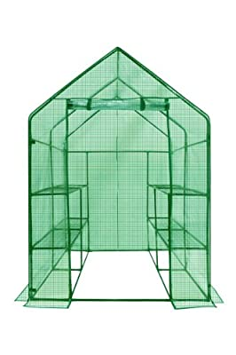 OGrow OG6868-PE Deluxe WALK-IN 2 Tier 8 Shelf Portable Lawn and Garden Greenhouse - Heavy Duty Anchors Included! from Ogrow