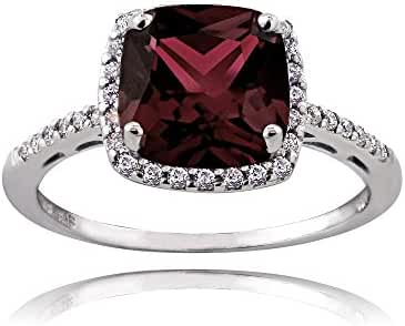 Sterling Silver Garnet and Cubic Zirconia Cushion-Cut Halo Ring