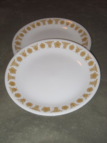 SET OF 8 - Vintage 1970's Corning Ware Butterfly Gold 8 Inch Luncheon Plate