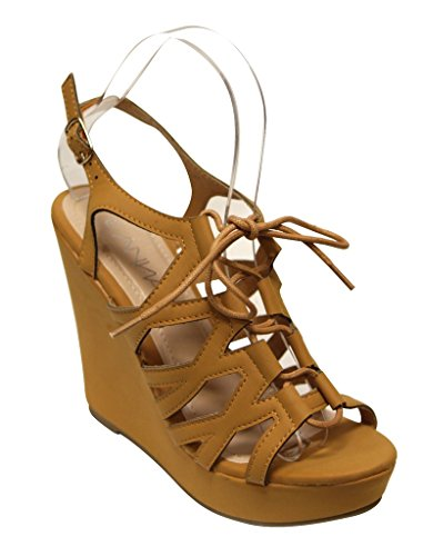sandals Womens Tan up lace nubuck wedge slingback Anna open Paso 2 toe caged qnZCwPaE