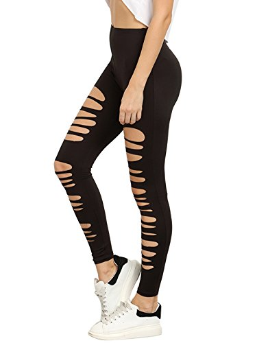 SweatyRocks Leggings Women Cutout Skinny Tights Ripped Yoga workout Pants , Black , Large ()