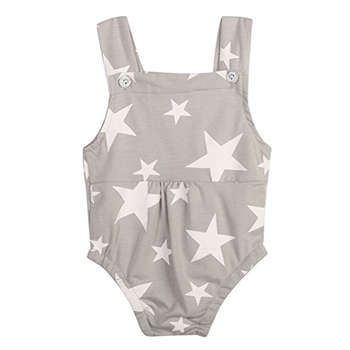 Diamondo Baby Romper, Baby Infant Toddler Sleeveless Rompers Star Print Jumpsuit Sunsuit(0-18 Months Baby) (Age:12-18M, Gray)