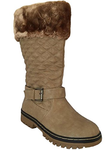 Beige Lined High Boots Womens Calf Flat Quilted Ladies Knee Snow Fur Girls Winter wqgHp07