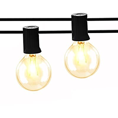 ASAE 100Ft G40 Globe String Lights, UL listed Backyard Lights, Super Long Hanging Indoor/Outdoor String Light for Deckyard Tents, Patios, Weddings, Party Decor, 67 Clear Bulbs + 4 Spare, Black