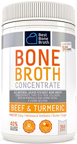 (Beef Bone Broth Concentrate with Turmeric - Rich in Collagen to help improve gut health, skin firmness and healthy hair - Great for keto and paleo diet - Grass Fed, Hormone Free )
