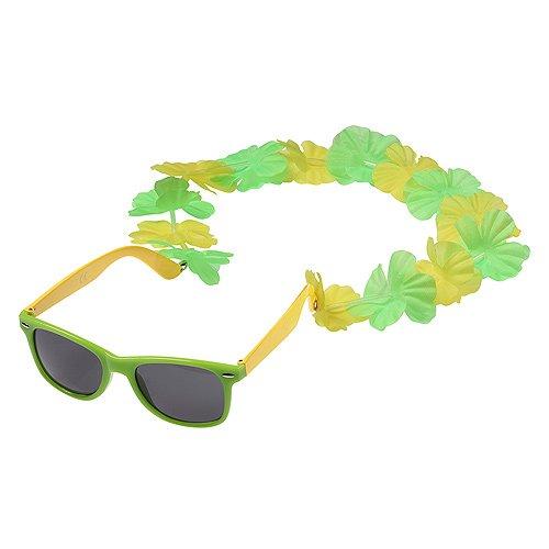 5er-Set Spaßbrille Fasching Brazil Partybrillen mit Blumenkette Hawaiikette in Gelb-Grün elasto form KG 08048