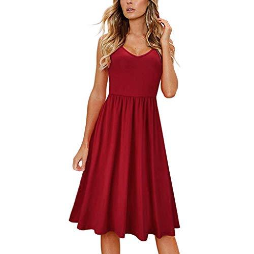 Dimanul Women Sling V-neck Halter Bow Casual Dress Solid Color Dress Maxi Dress Boho Summer Beach Dress