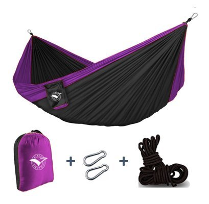 Price comparison product image Camping Hammock By Kimia Vita - Duble Nylon hammock + 2 Carabiners + 2.5 meters black ropes, ultra-resistant (black w/fuchsia borders)