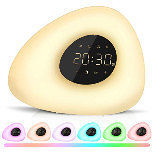 MKROYO Wake Up Light, Sunrise Alarm Clock with Color Night for Bedside and Children, Multiple Alarm Sounds, Sunrise and Sunset Simulation