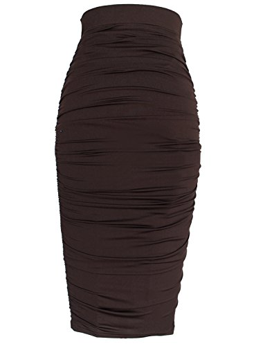 005aa3136f VfEmage Womens Elegant Ruched Frill Ruffle High Waist Pencil Mid Calf Skirt  1877 New DBRW 16