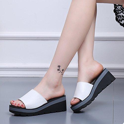 Sandalias femenina cómodo Blanco Casual MEIDUO moda sandalias Sandalias verano Blanco Azul de Negro de Chanclas qOEc4A1XWc