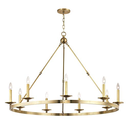 Hudson Valley Lighting 3209-AGB Allendale Chandelier, 9-Light, Aged Brass