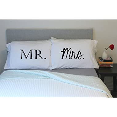 Oh, Susannah Mr and Mrs Pillow Cases - Anniversary Wedding Gift - Couple Pillowcases His & Hers (2 Queen Size Pillowcases)