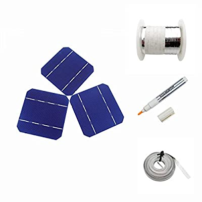 20/40/80/108pcs 5x5 Mono Solar Cells KIT w/ Tabbing Bus Wire, Flux Pen DIY 200W Panel