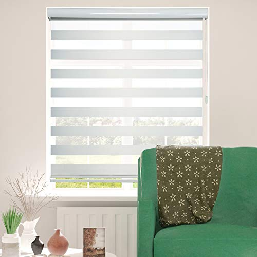 ShadesU Zebra Dual Layer Roller Sheer Shades Blinds Light Filtering Window Treatments Privacy Light Control for Day and Night (Maxium Height 72inch) (White Color) (Width 92inch)